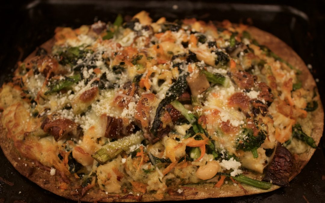 Broccoli Rabe and Crumbled Chicken Sausage Pizza